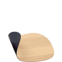 Double Sided Table Mat Small Curve Black Leather & Oak Wood