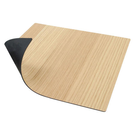 Double Sided Table Mat Small Square Leather & Oak Wood
