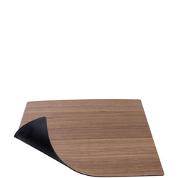 Double Sided Table Mat Small Square Leather & Walnut Wood