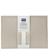 12-Piece Woven Vinyl Placemats And Coasters Set Beige