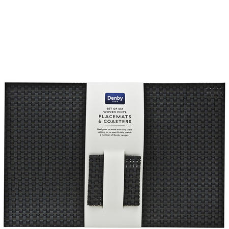 12-Piece Woven Vinyl Placemats And Coasters Set Black