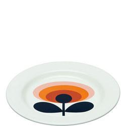 Enamel Plate 70's Flower Oval Permission 24cm