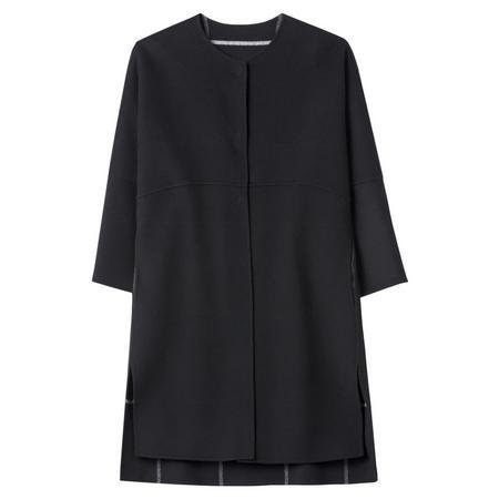 Round Neck A-Line Coat Grey