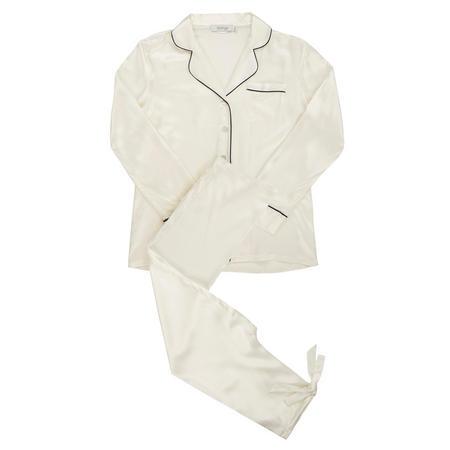 Piped Silk Pyjamas White