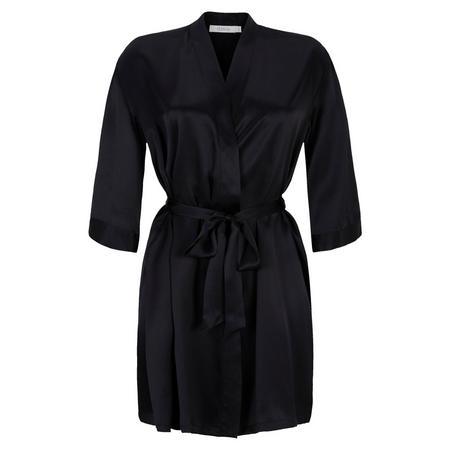 Short Silk Robe Black