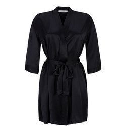 Short Silk Robe Black