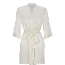 Short Silk Robe White