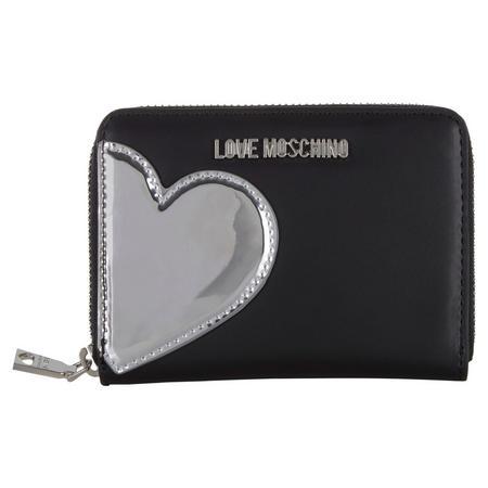 Metallic Heart Zip Around Wallet Black