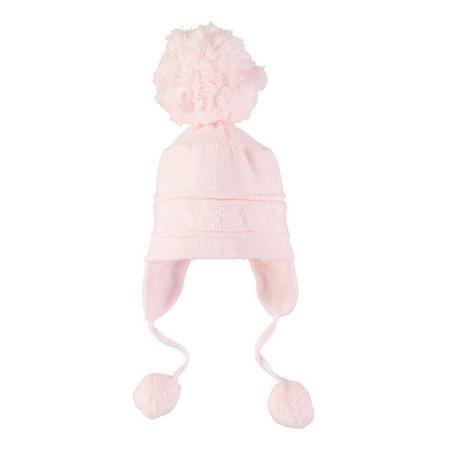 Griffin Ear Flap Bobble Hat Pink