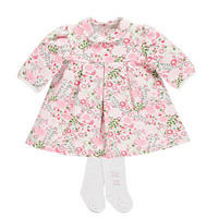 Lavina Floral Print Dress With Tights Pink