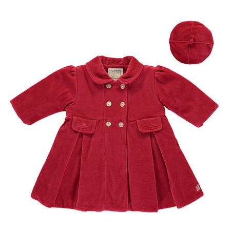 Lucinda Velour Coat With Beret Red