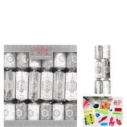 Christmas Crackers Silver Snowfalke 12-Pack