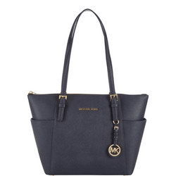 Jet Set Saffiano Leather Tote Large Navy