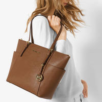 Jet Set Saffiano Leather Top Zip Tote Brown