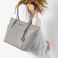 Jet Set Leather Tote Bag Grey