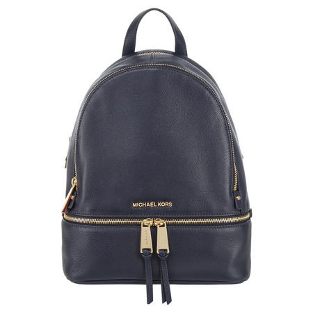 Rhea Leather Backpack Medium Navy