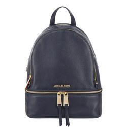 Rhea Leather Backpack Medium Navy