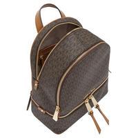 Rhea Signature Zipped Backpack Brown