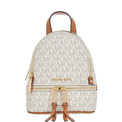 Rhea Signature Zipped Backpack Vanilla