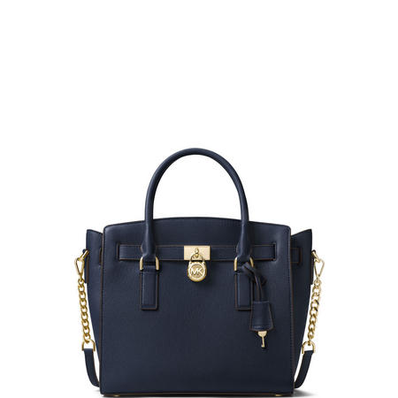 Hamilton Large Leather Satchel Bag Navy