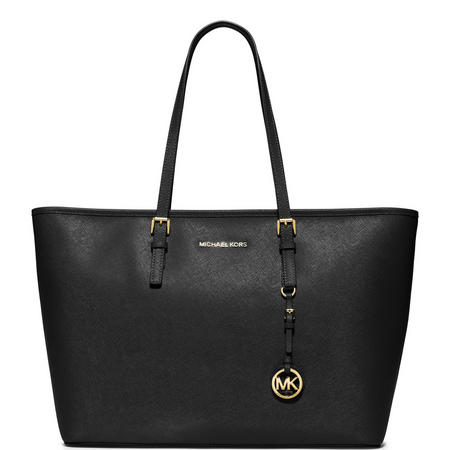 Jet Set Medium Top Zip Tote Black