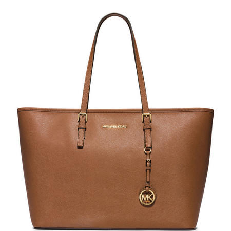Jet Set Medium Top Zip Tote Tan