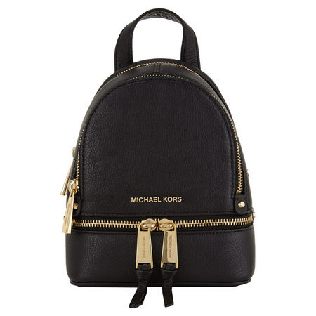 Rhea Leather Messenger Backpack Extra Small Black