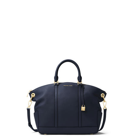 Beckett Large Leather Satchel Bag Navy
