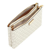 Adele Double Zip Crossbody Bag Cream