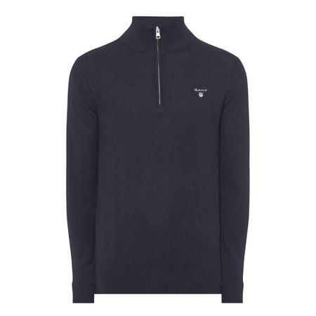 Piqué Half-Zip Sweater Blue
