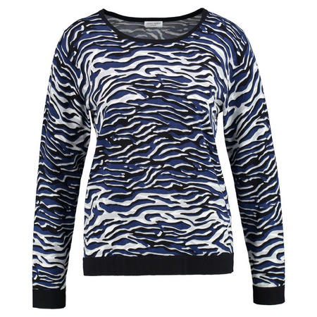 Contrast Trim Printed Sweater Multicolour