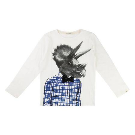 Boys Dinosaur Long Sleeve T-Shirt White