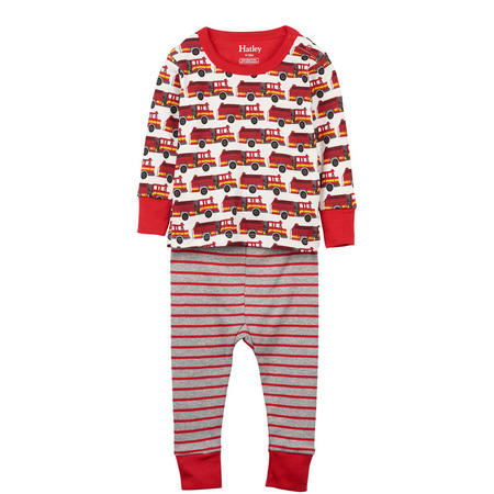 Fire Trucks Organic Cotton Baby Pyjamas Red