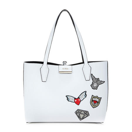 Bobbi Embroidered Reversible Tote Bag White