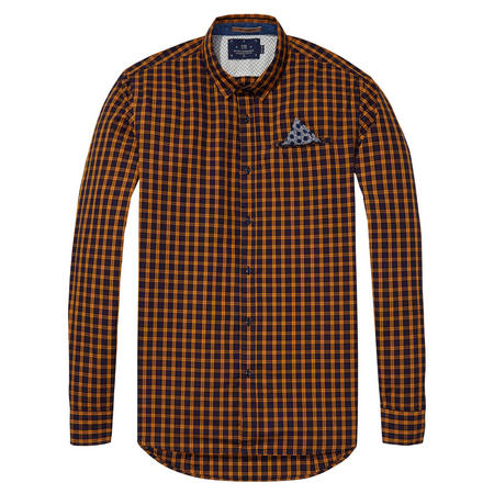 Check Shirt With Fixed Pocket Square Yellow