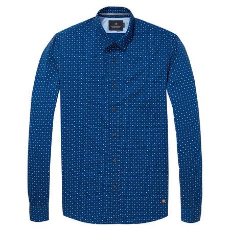 Oxford Weave Patterned Shirt Blue