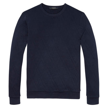Quilted Crew Neck Sweater Navy