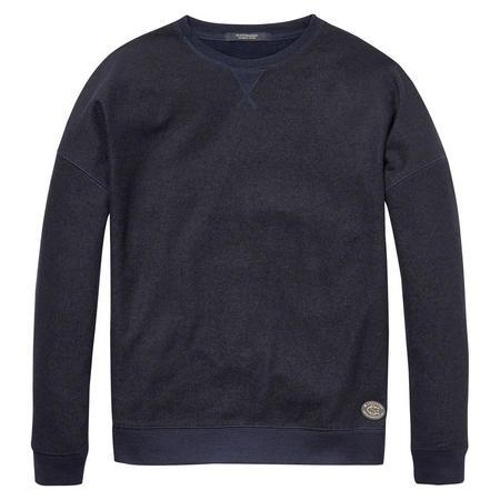 Wool Front Crew Neck Sweater Navy