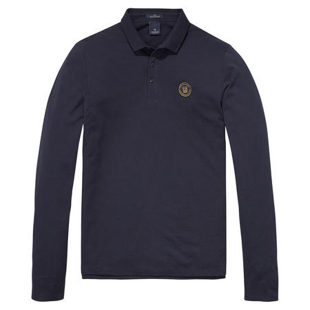 Long Sleeve Pique Polo Shirt Blue