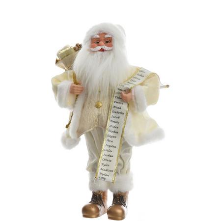 Santa With List Decoration Cream