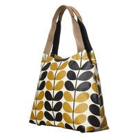 Stem Check Print Zipped Handbag Yellow