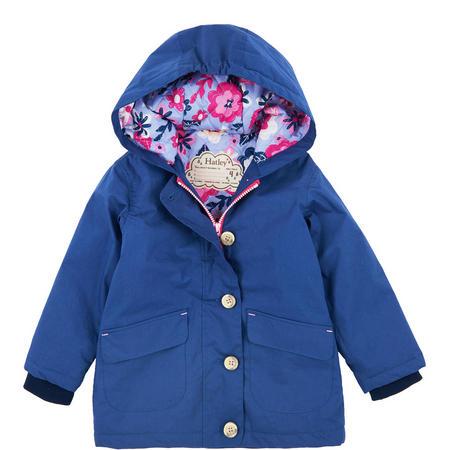 Wintery Bloom Coated Cotton Raincoat Navy