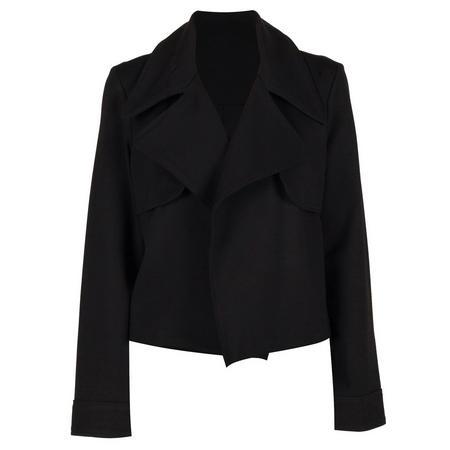 Open Front Lapel Jacket Black