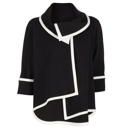 Contrast Trim Asymmetric Jacket Black/Cream