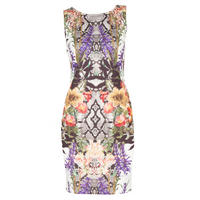 Multi Print Pencil Dress White