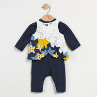 Star Print Velvet Suit Navy