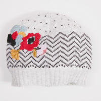 Embroidered Knit Hat Cream