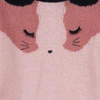 Cat Face Reversible Cardigan Pink