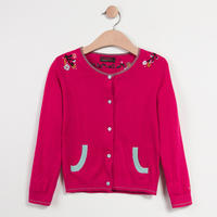 Embroidered Cardigan Pink