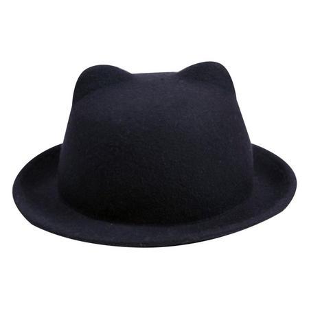 Kids Cat Bowler Hat Blue